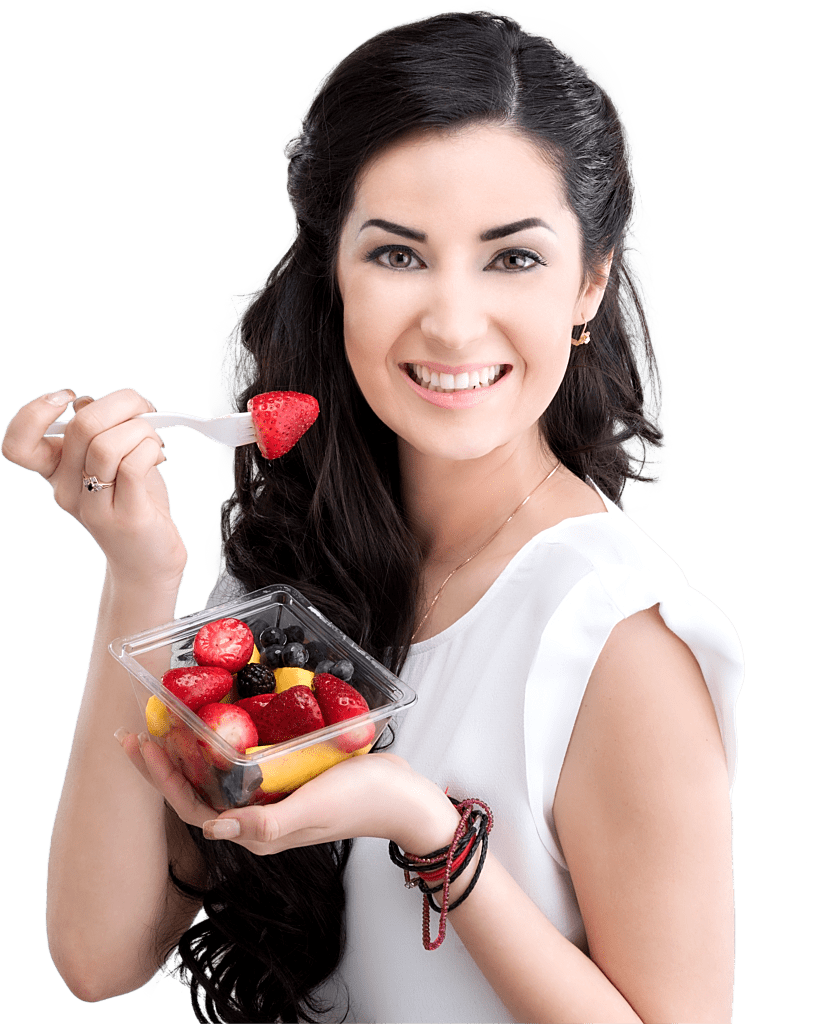 image of woman eating fruits