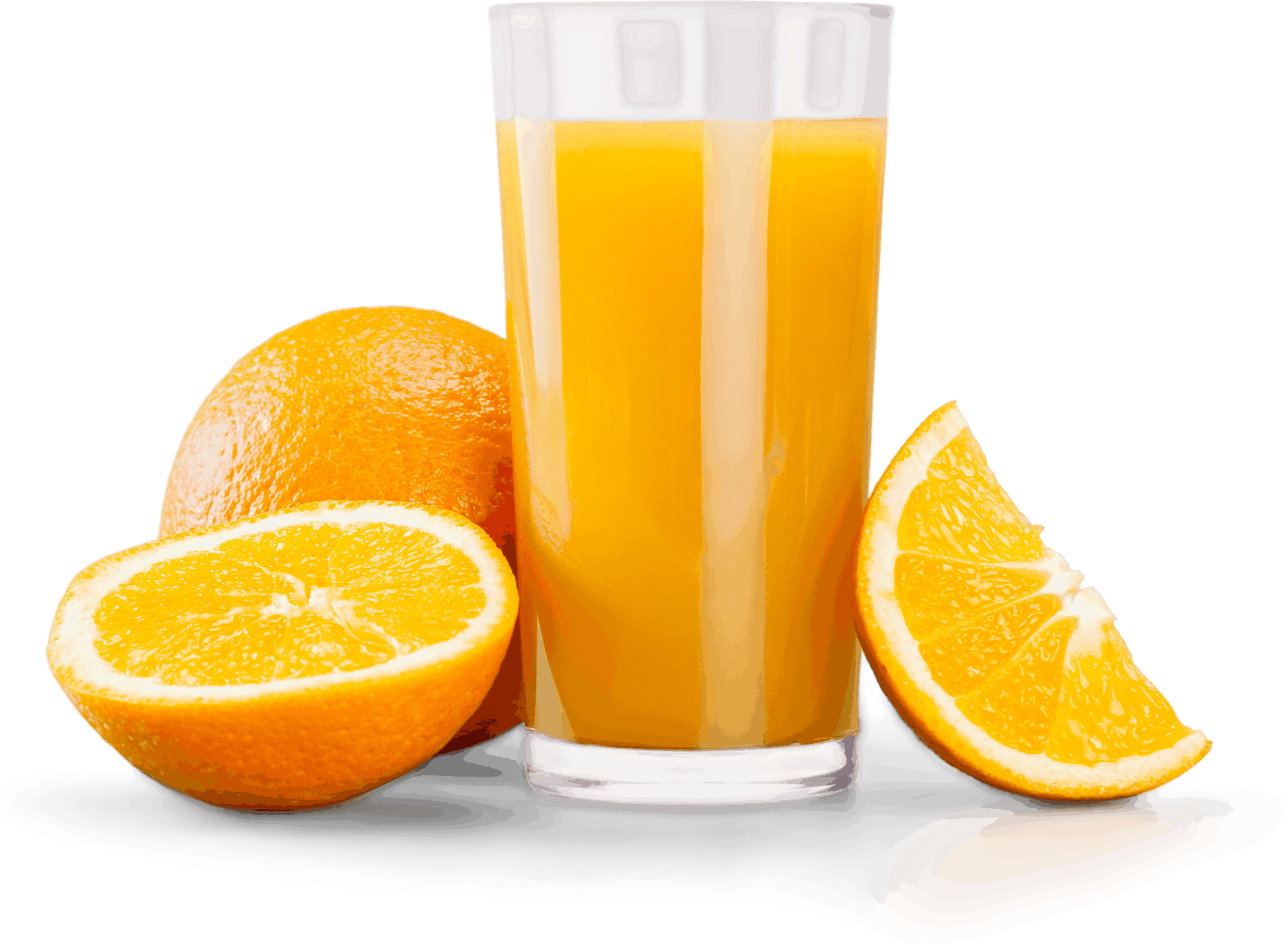 Image of Orange Juice and some pieces of the fruit