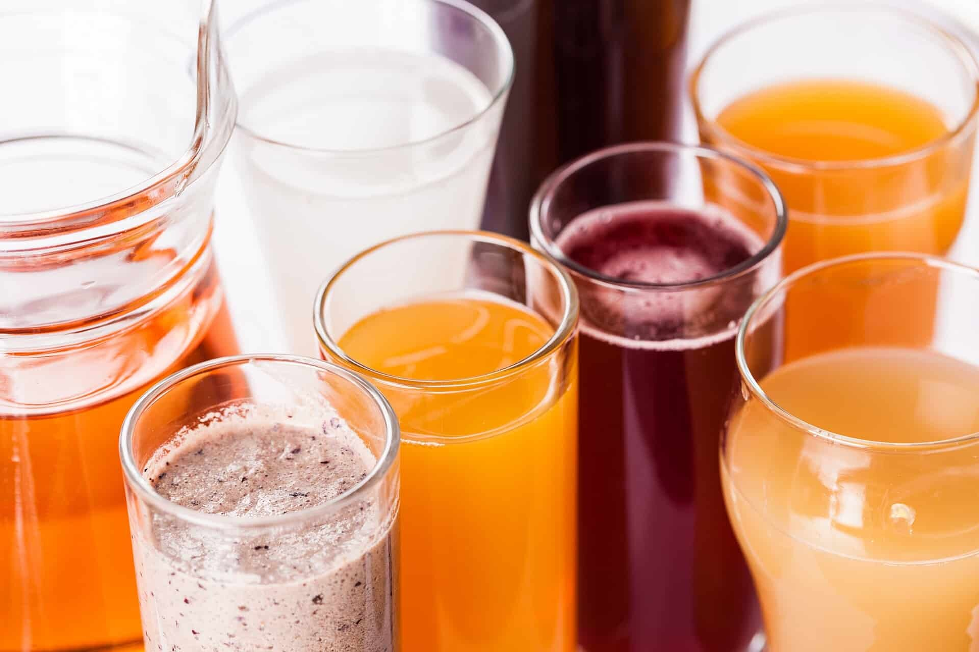 variety of home-made juice